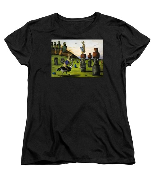 The Battle Over Easter Island Women's T-Shirt (Standard Cut) by Leah Saulnier The Painting Maniac