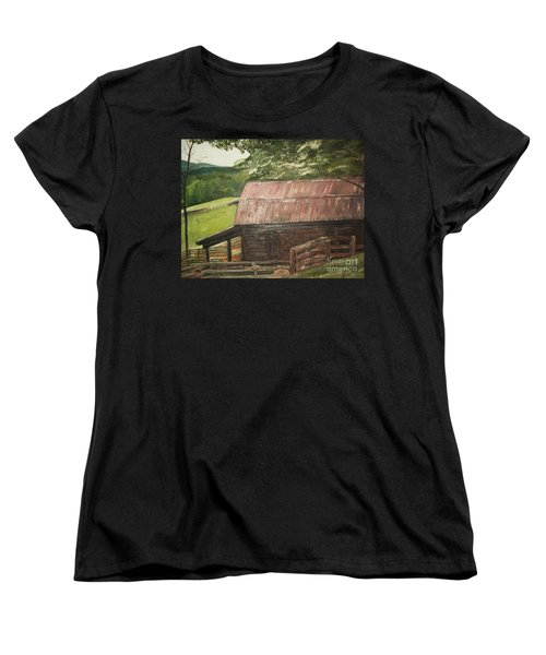 Women's T-Shirt (Standard Cut) featuring the painting The Cherrys Barn by Jan Dappen
