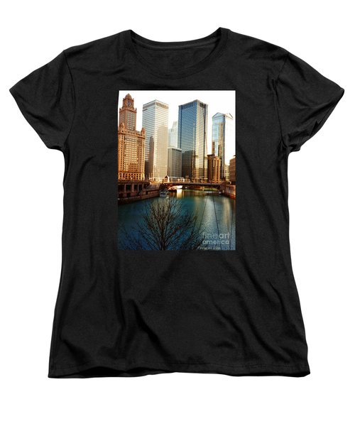 Women's T-Shirt (Standard Cut) featuring the photograph The Chicago River From The Michigan Avenue Bridge by Mariana Costa Weldon