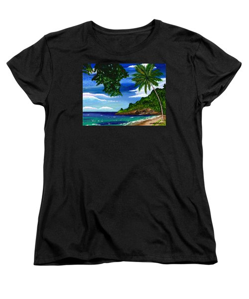 Women's T-Shirt (Standard Cut) featuring the painting The Coconut Tree by Laura Forde