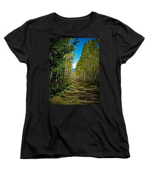 Women's T-Shirt (Standard Cut) featuring the painting The Cool Path Through Arizona Aspens by John Haldane