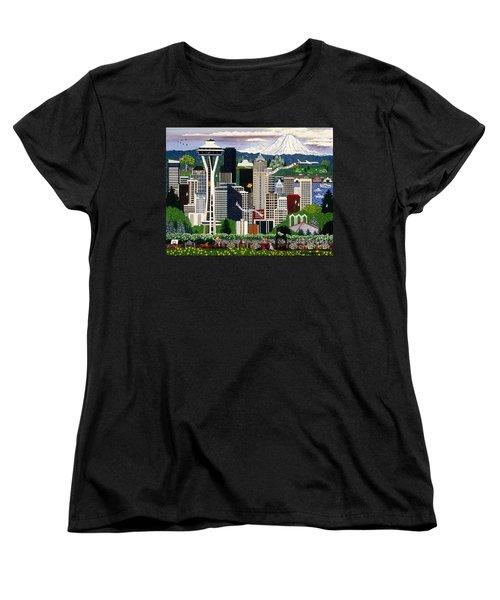 The Emerald City Seattle Women's T-Shirt (Standard Cut) by Jennifer Lake