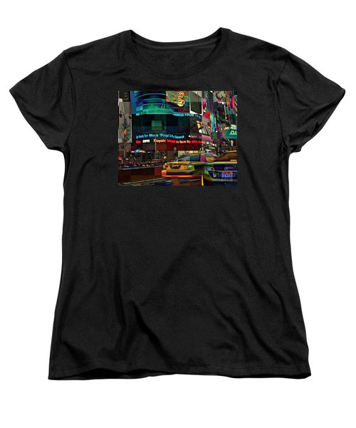 The Fluidity Of Light - Times Square Women's T-Shirt (Standard Cut) by Miriam Danar