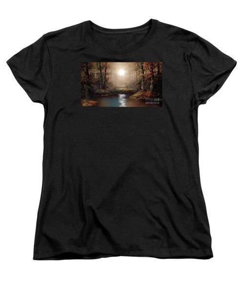 Women's T-Shirt (Standard Cut) featuring the painting Sunrise Forest  by Michael Rucker
