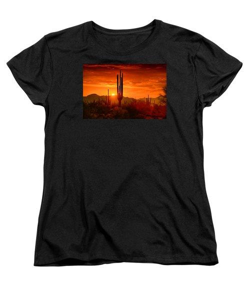 The Golden Southwest Skies  Women's T-Shirt (Standard Cut) by Saija  Lehtonen