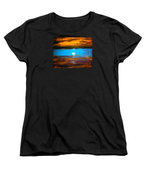 Women's T-Shirt (Standard Cut) featuring the painting The Golden Sunset by Kicking Bear  Productions