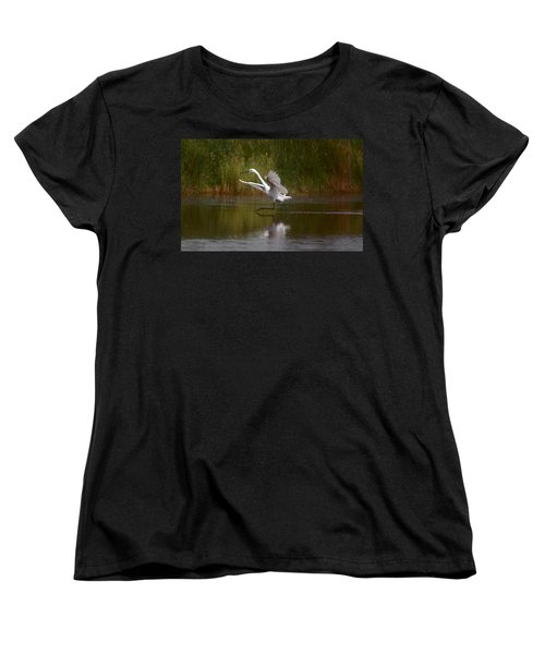 Women's T-Shirt (Standard Cut) featuring the photograph The Great Egret by Leticia Latocki