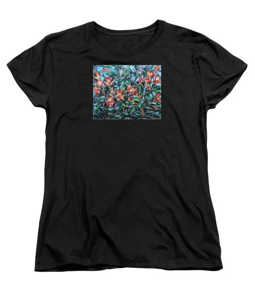 Women's T-Shirt (Standard Cut) featuring the painting The Late Bloomers by Xueling Zou