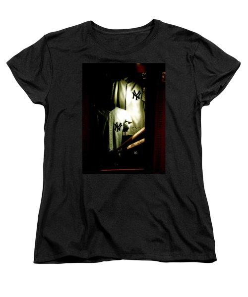 The Locker  Mickey Mantle's And Joe Dimaggio's Locker Women's T-Shirt (Standard Cut) by Iconic Images Art Gallery David Pucciarelli