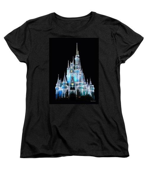 The Magic Kingdom Castle In Frosty Light Blue Walt Disney World Women's T-Shirt (Standard Cut) by Thomas Woolworth