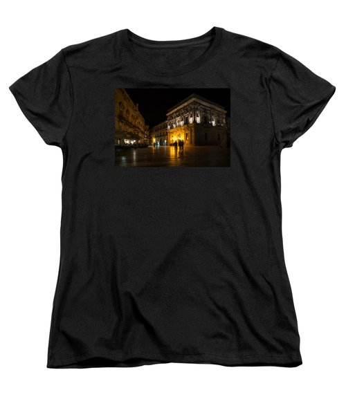 Women's T-Shirt (Standard Cut) featuring the photograph The Magical Duomo Square In Ortygia Syracuse Sicily by Georgia Mizuleva