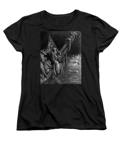 The Mariner Gazes On The Serpents In The Ocean Women's T-Shirt (Standard Cut) by Gustave Dore