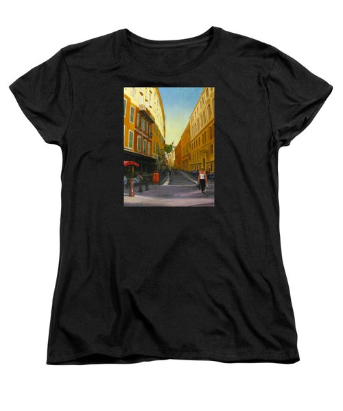 The Morning's Shopping In Vieux Nice Women's T-Shirt (Standard Cut) by Connie Schaertl
