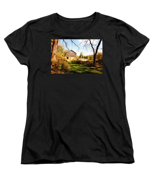 Women's T-Shirt (Standard Cut) featuring the photograph The Old Barn by Trina  Ansel