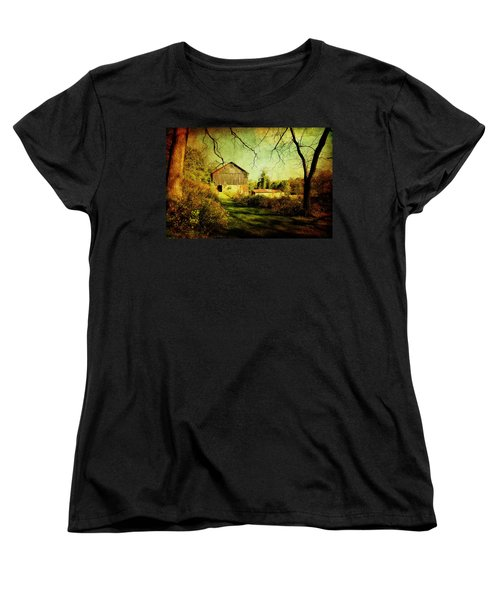 Women's T-Shirt (Standard Cut) featuring the photograph The Old Barn With Texture by Trina  Ansel