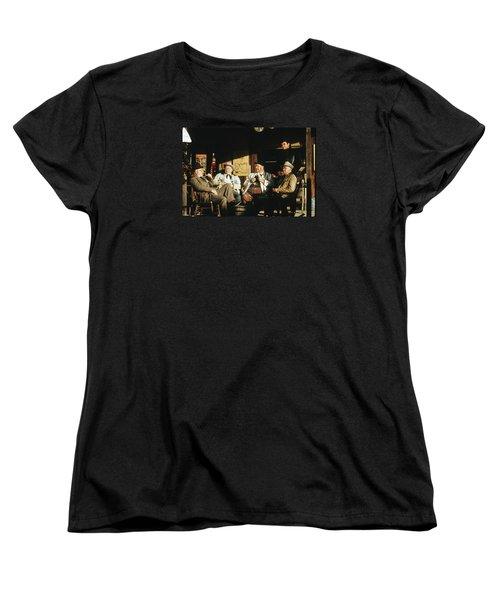 Women's T-Shirt (Standard Cut) featuring the photograph The Over The Hill Gang  Johnny Cash Porch Old Tucson Arizona 1971 by David Lee Guss