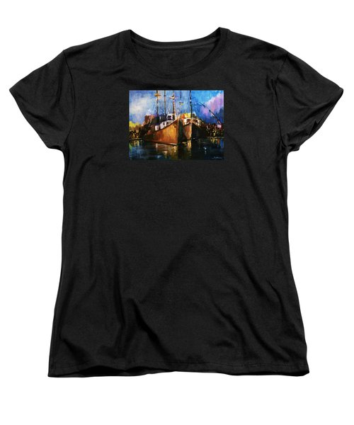 Women's T-Shirt (Standard Cut) featuring the painting The Pier At Sunset by Al Brown