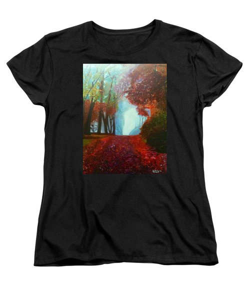Women's T-Shirt (Standard Cut) featuring the painting The Red Cathedral - A Journey Of Peace And Serenity by Belinda Low