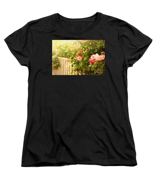 The Scent Of Roses And A White Fence Women's T-Shirt (Standard Cut) by Sabine Jacobs