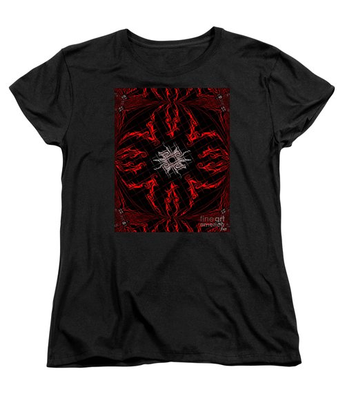 Women's T-Shirt (Standard Cut) featuring the painting The Spider's Web  by Roz Abellera Art