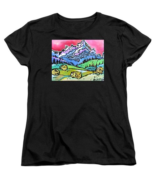 Women's T-Shirt (Standard Cut) featuring the painting The Tetons From Walton Ranch by Nicole Gaitan