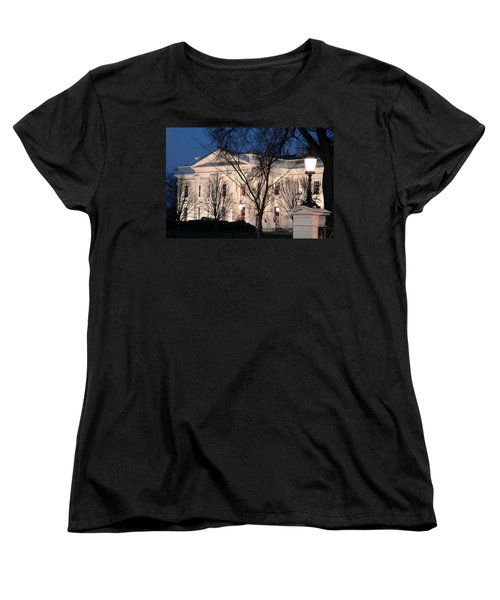 Women's T-Shirt (Standard Cut) featuring the photograph The White House At Dusk by Cora Wandel