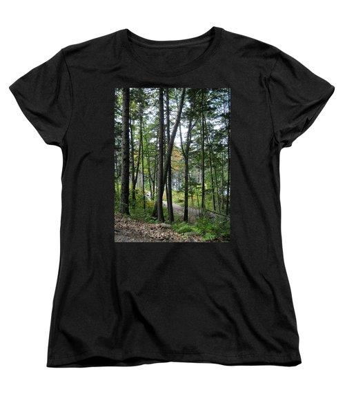 The Woods Coastal Maine Botanical Gardens Women's T-Shirt (Standard Cut) by Patricia E Sundik
