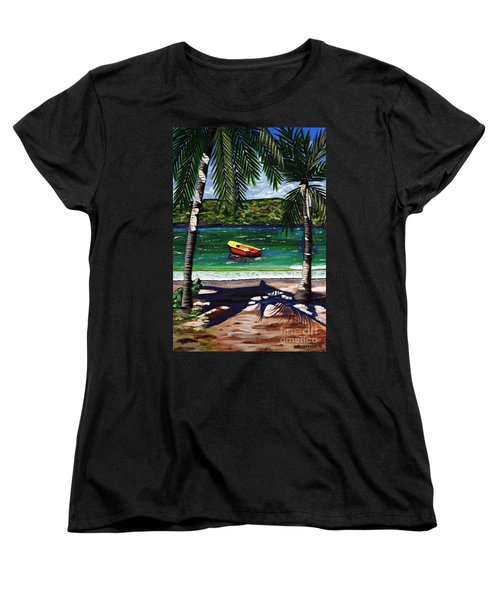Women's T-Shirt (Standard Cut) featuring the painting The Yellow And Red Boat by Laura Forde
