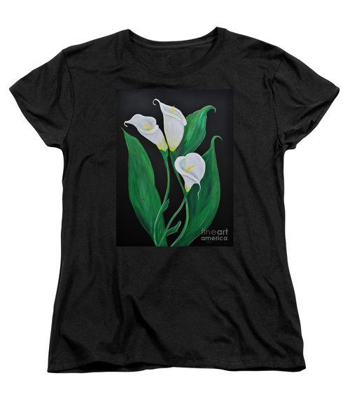 Women's T-Shirt (Standard Cut) featuring the painting Three Calla Lilies On Black by Janice Rae Pariza