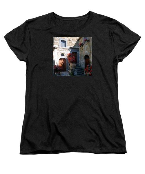 Three Doors In Bagnoregio Women's T-Shirt (Standard Cut) by Barbie Corbett-Newmin