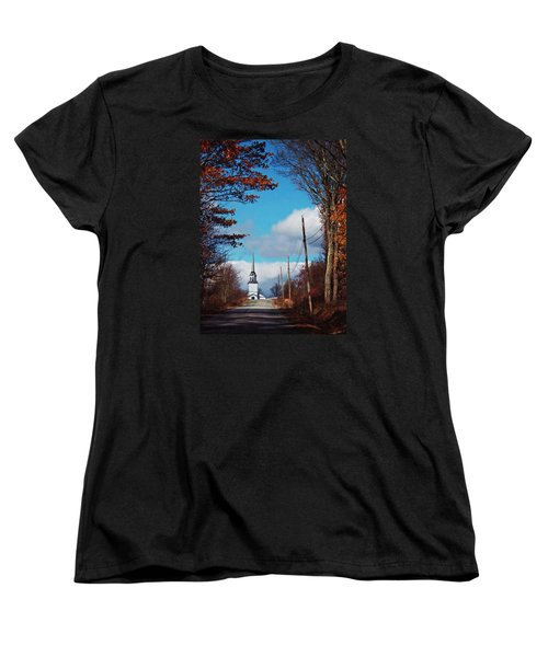 Women's T-Shirt (Standard Cut) featuring the photograph Through The Trees View Of The Norlands Church Steeple by Joy Nichols