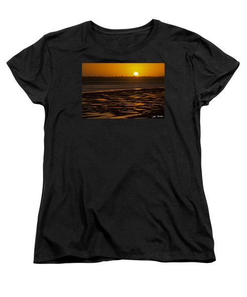 Women's T-Shirt (Standard Cut) featuring the photograph Tidal Pattern At Sunset by Jeff Goulden