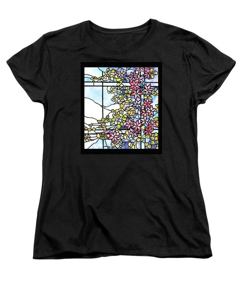 Stained Glass Tiffany Floral Skylight - Fenway Gate Women's T-Shirt (Standard Cut) by Donna Walsh