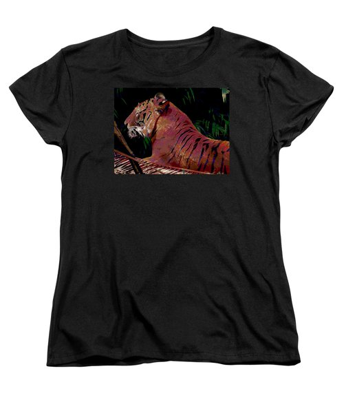 Women's T-Shirt (Standard Cut) featuring the painting Tiger 2 by David Mckinney