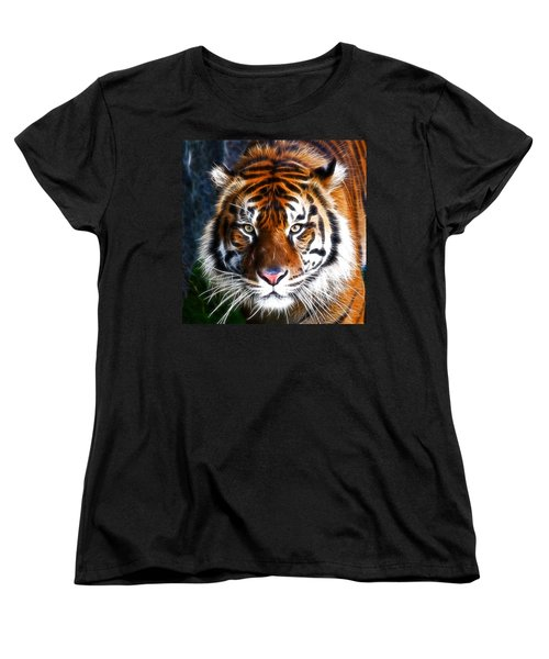 Tiger Close Up Women's T-Shirt (Standard Cut) by Steve McKinzie