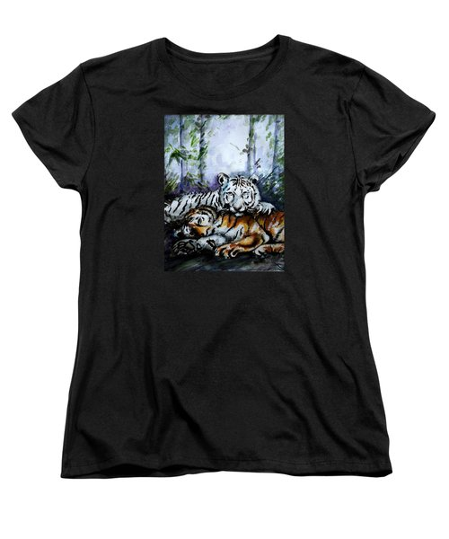 Women's T-Shirt (Standard Cut) featuring the painting Tigers-mother And Child by Harsh Malik