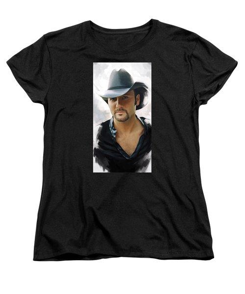 Women's T-Shirt (Standard Cut) featuring the painting Tim Mcgraw Artwork by Sheraz A