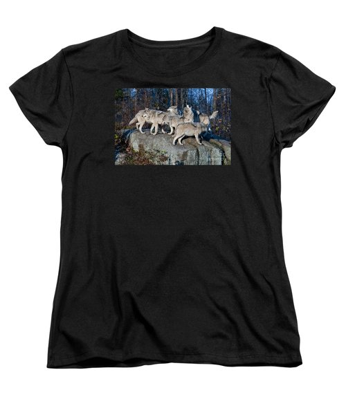 Timber Wolf Pack Women's T-Shirt (Standard Cut) by Wolves Only