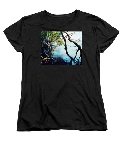 Women's T-Shirt (Standard Cut) featuring the painting Timeless Forest by Mary Lynne Powers
