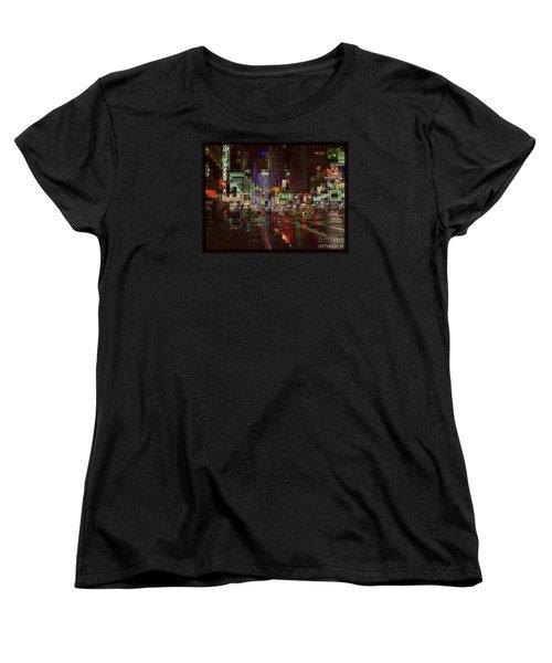 Times Square At Night - After The Rain Women's T-Shirt (Standard Cut) by Miriam Danar