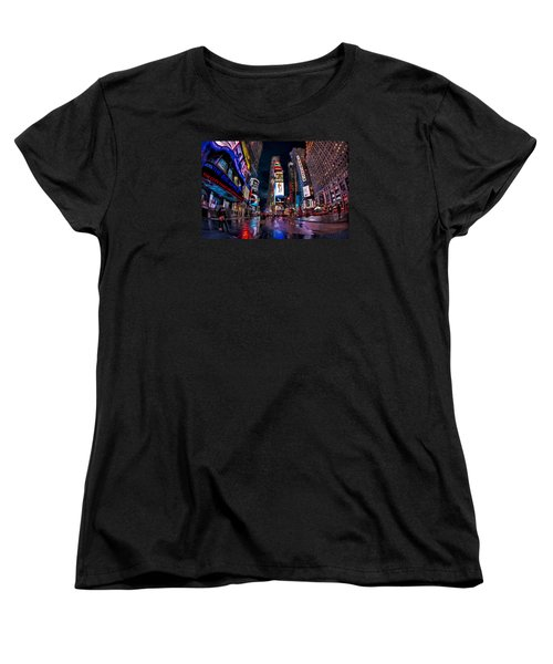 Times Square New York City The City That Never Sleeps Women's T-Shirt (Standard Cut) by Susan Candelario