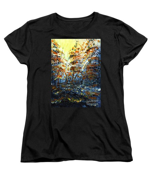 Women's T-Shirt (Standard Cut) featuring the painting Tim's Autumn Trees by Holly Carmichael