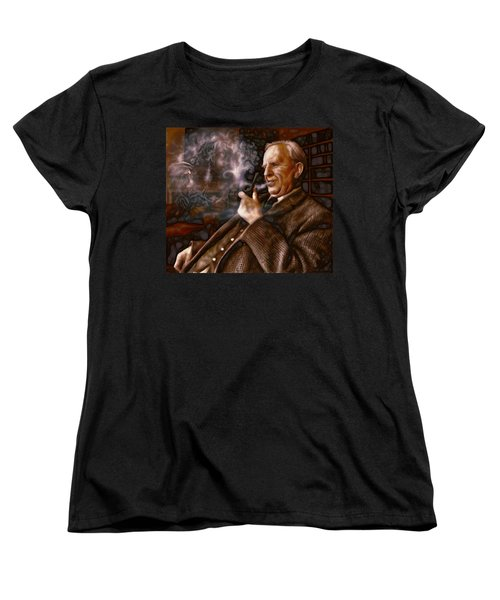 Women's T-Shirt (Standard Cut) featuring the painting Tolkien Daydreams by Dave Luebbert