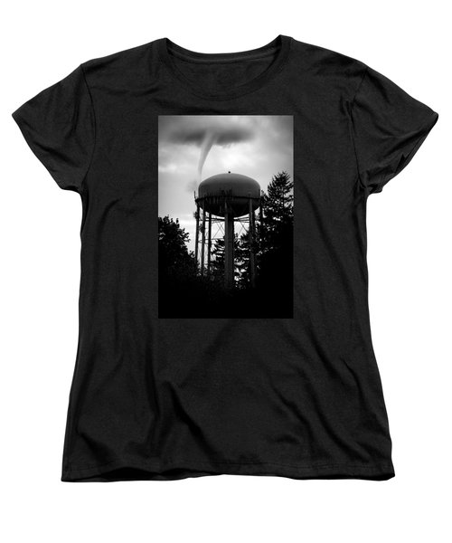 Black And White Women's T-Shirt (Standard Cut) featuring the photograph Tornado Tower by Aaron Berg