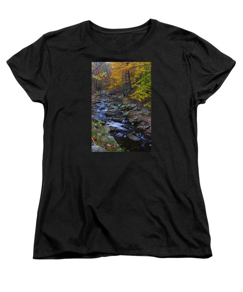 Tracking Color - Big Hunting Creek Catoctin Mountain Park Maryland Autumn Afternoon Women's T-Shirt (Standard Cut) by Michael Mazaika