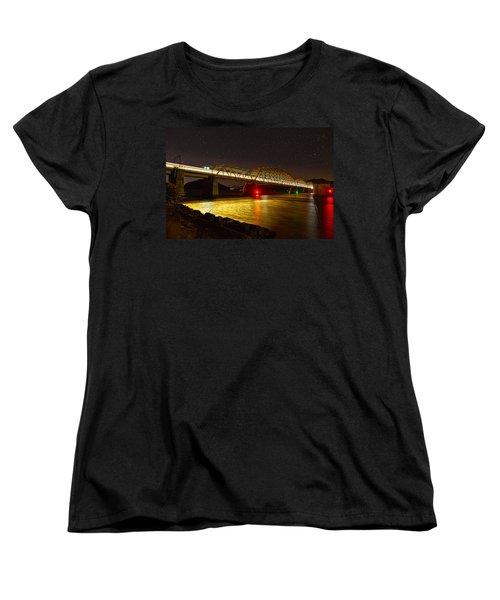 Train Lights In The Night Women's T-Shirt (Standard Cut) by Miroslava Jurcik