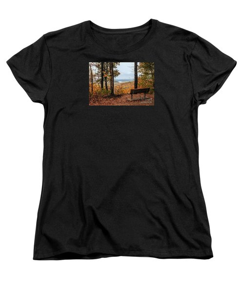 Women's T-Shirt (Standard Cut) featuring the photograph Tranquility Bench In Great Smoky Mountains by Debbie Green
