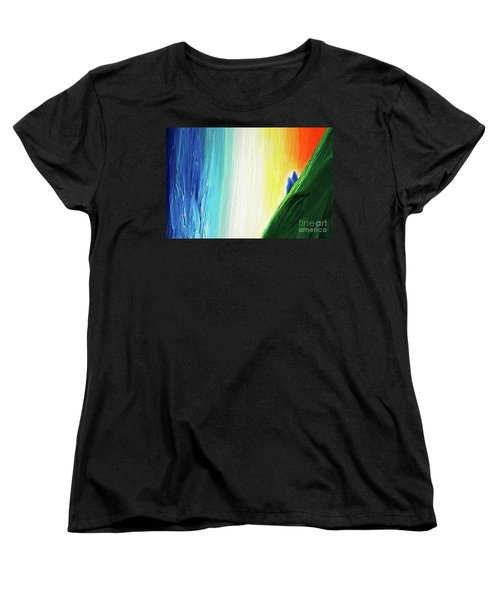 Women's T-Shirt (Standard Cut) featuring the painting Travelers Rainbow Waterfall Detail by First Star Art