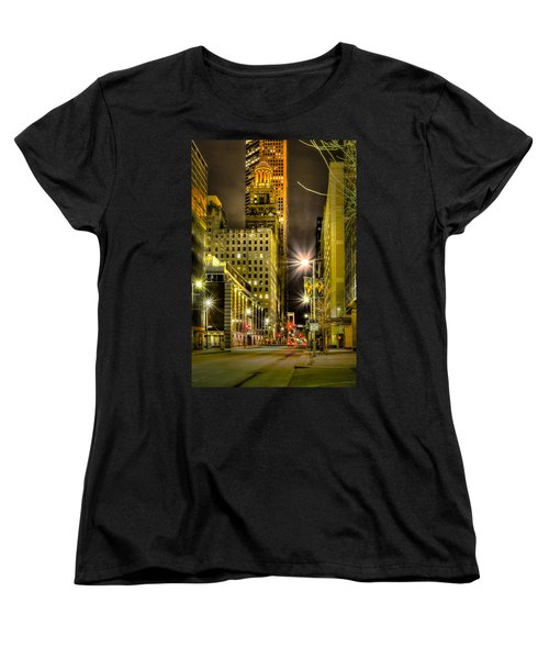 Travis And Lamar Street At Night Women's T-Shirt (Standard Cut) by David Morefield