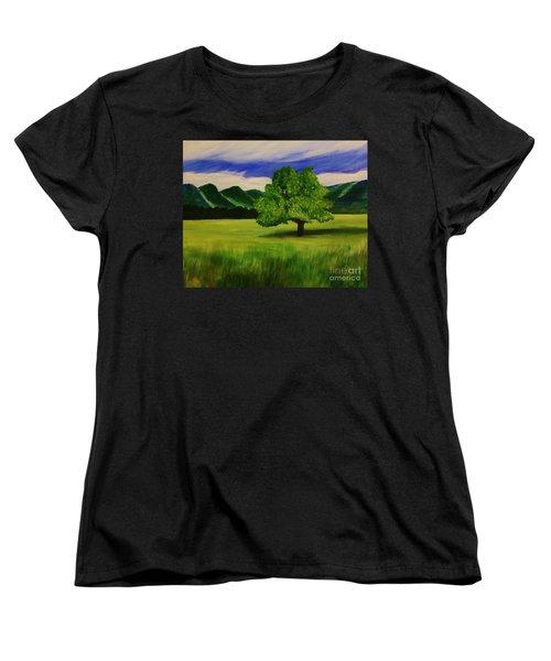 Tree In A Field Women's T-Shirt (Standard Cut) by Christy Saunders Church